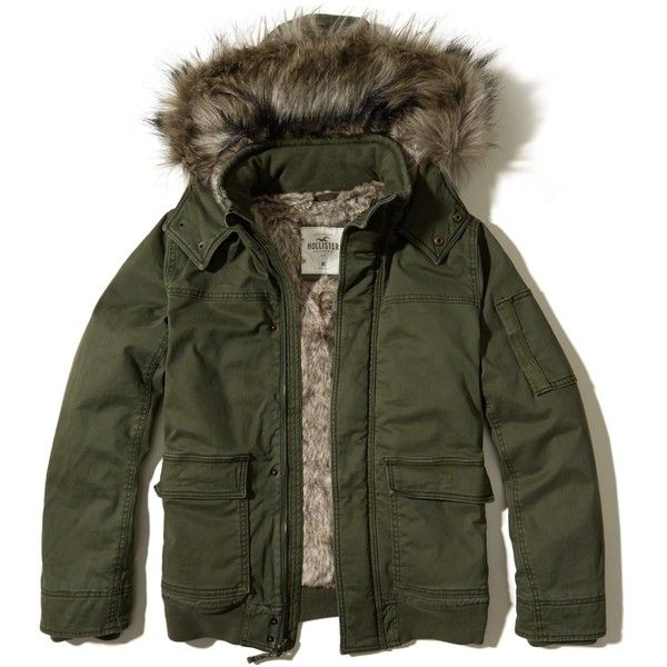 Hollister Faux Fur Lined Twill Bomber Jacket ($112) ❤ liked on Polyvore featuring men's fashion, men's clothing, men's outerwear, men's jackets, olive, mens faux fur lined jacket, mens hooded bomber jacket, mens green military jacket, mens faux fur lined hooded jacket and men's olive bomber jacket