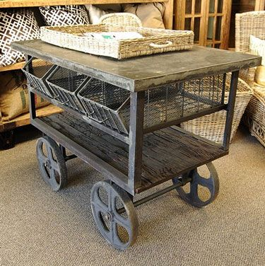 Great looking cart for the industrial style decor!