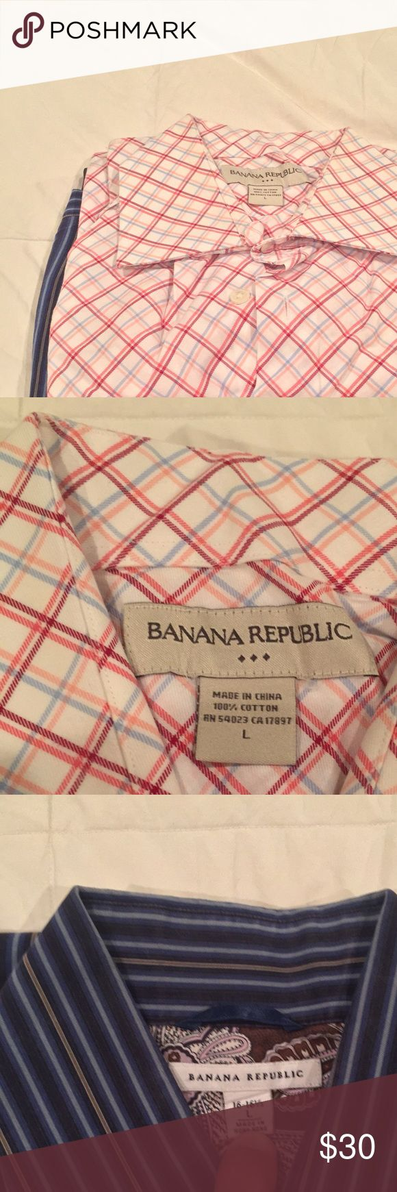 """Banana Republic Lot of 2 Dress Shirts 16 34 35 Offered is a lot of 2 BANANA REPUBLIC Dress Shirts. Both are pre-owned and have been worn, but are in excellent condition with minimal wear to the collars and sleeves. All have been freshly laundered and are ready to wear. Sizing on both is a 16 neck and 34/35 sleeve, however refer to the photos for exact sizing on all shirts. All collar stays are present on the shirts. I am 6' 00"""" and weigh 185 lbs and both of these shirts fit me well. I am a…"""