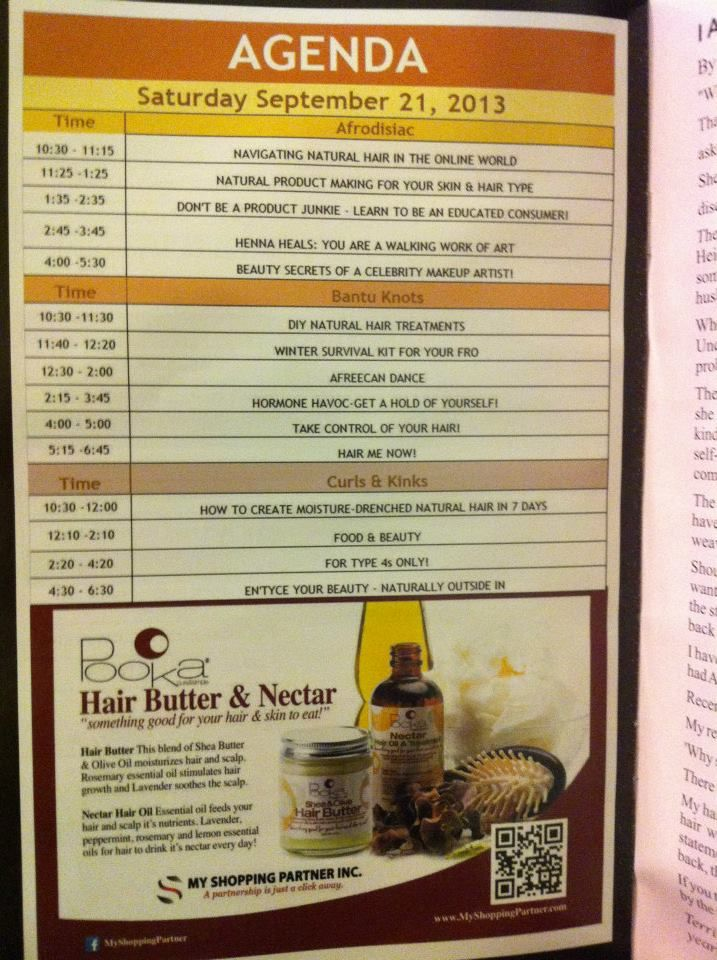 Pooka Hair Butter & Nectar advertising very visible in hundreds of Show Guide copies! — at Toronto Natural Hair Show .