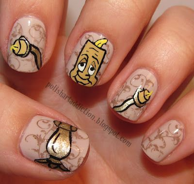 Lumiere from Beauty and the Beast Nail Art #cartoon #nail art