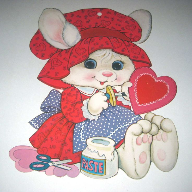 Vintage Large Valentine Die Cut of Cute White by grandmothersattic