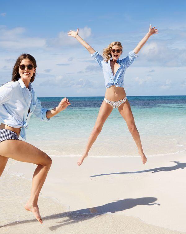 J.Crew women's Gingham bikini boy short, Hipster bikini bottom in Liberty® Edenham floral and Frankie sunglasses.