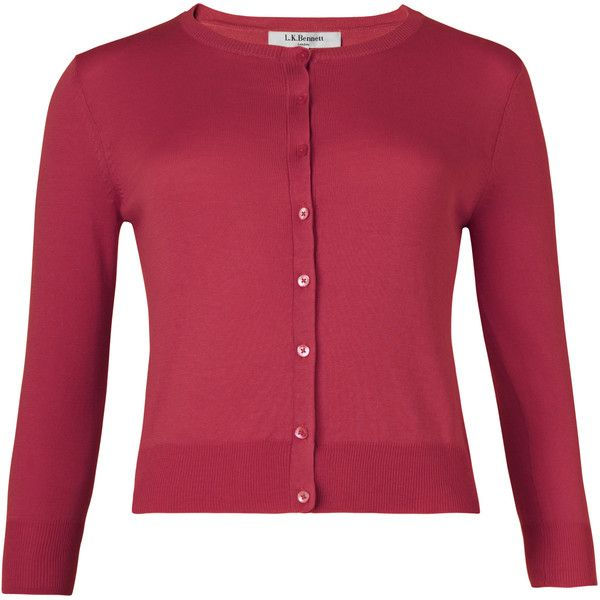 L.K. Bennett Bella Cardigan (4.570 RUB) ❤ liked on Polyvore featuring tops, cardigans, pink, red top, pink top, cardigan top, red short cardigan and short tops
