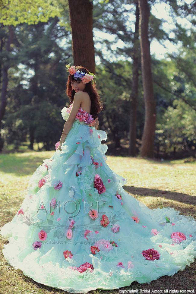 【楽天市場】【送料無料】ウェディングドレス_ウエディングドレス_二次会ドレス_カラードレス_花ドレス (c088g):ブライダルアモーレ