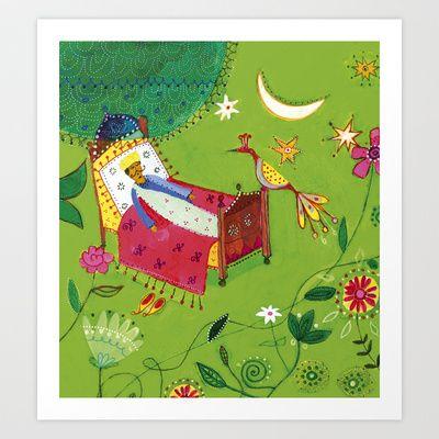 magic bed Art Print by Marianna Jagoda