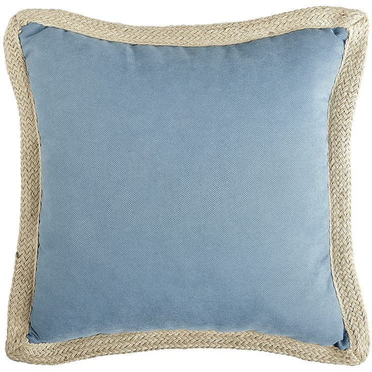 Calliope Jute Trim Outdoor Pillow - Cadet - Cushion
