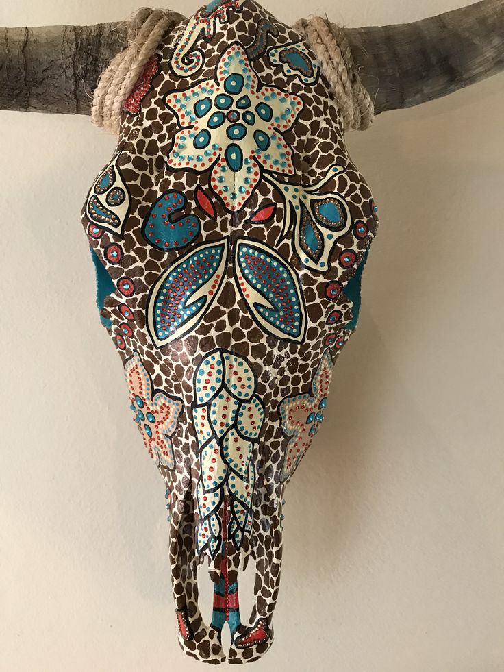 Cow Skull - Hand Painted by TopkatCreations on Etsy https://www.etsy.com/listing/537050858/cow-skull-hand-painted