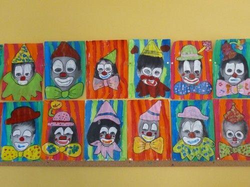 Portait de clown Travailler le graphisme et les différents éléments du visage en déguisant la photo des enfants en clown...