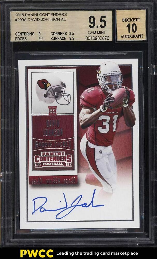 2015 Panini Contenders Ball High David Johnson Rookie Auto 209 Bgs 9 5 Pwcc Football Cards Sports Cards Cardinals