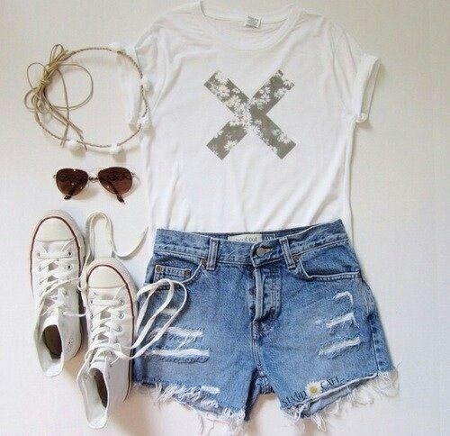 white tee shirt, ripped jean shorts, white high top converse