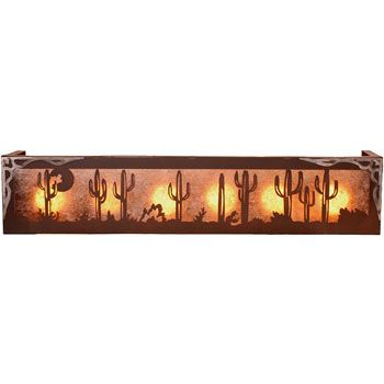 <p> Add a southwestern feel to your ranch house bath with the Cactus Desert vanity light. Majestic Saguaros and burnished steel accents highlight this beautiful vanity light. Available in either 4 or 6 bulb size and a variety of patina finishes and lens color options to complement your bathroom style. Made in the USA.</p>