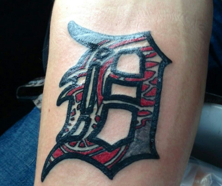 old english d with red wings logo inside awesome tattoos