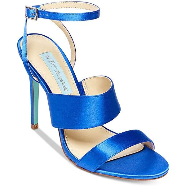 Blue By Betsey Johnson Jenna Strappy Evening Sandals ($99) ❤ liked on Polyvore featuring shoes, sandals, blue, strap sandals, blue high heel sandals, betsey johnson shoes, blue strappy sandals and strappy high heel sandals