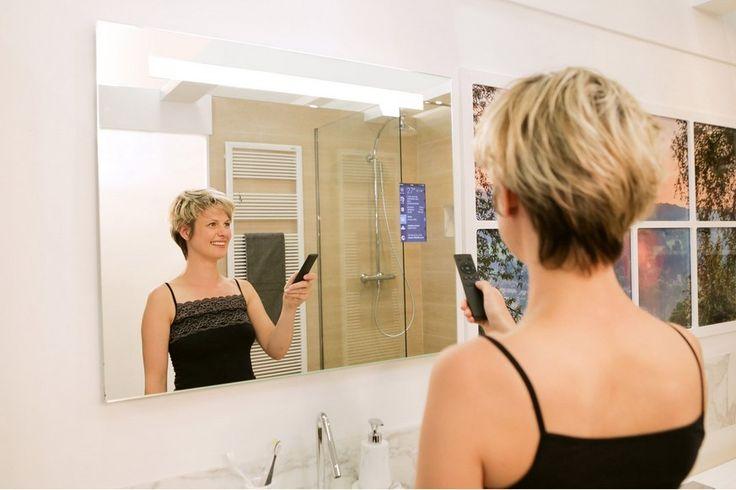 Miroir connecté lumineux Miralite connect - Miroir de salle de bains Leroy Merlin   Miroir ...