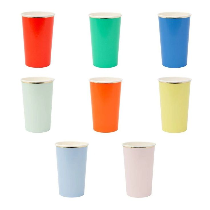 Party Palette Highball Cups (set of 8) — Meri Meri Party Cups, Party Drinks, Holographic Foil, Pool Accessories, Virtual Baby Shower, Eco Friendly Paper, Gold Foil Print, Burke Decor, Color Themes