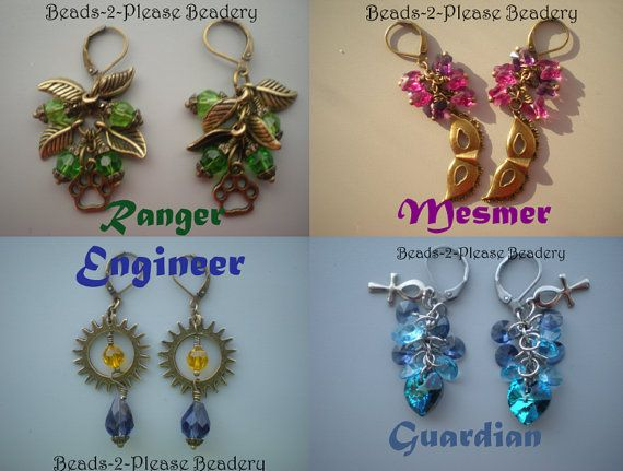 Guild Wars 2 Inspired Earrings - Choose: Ranger, Thief, Warrior, Necromancer, Mesmer, Guardian, Engineer, Elementalist