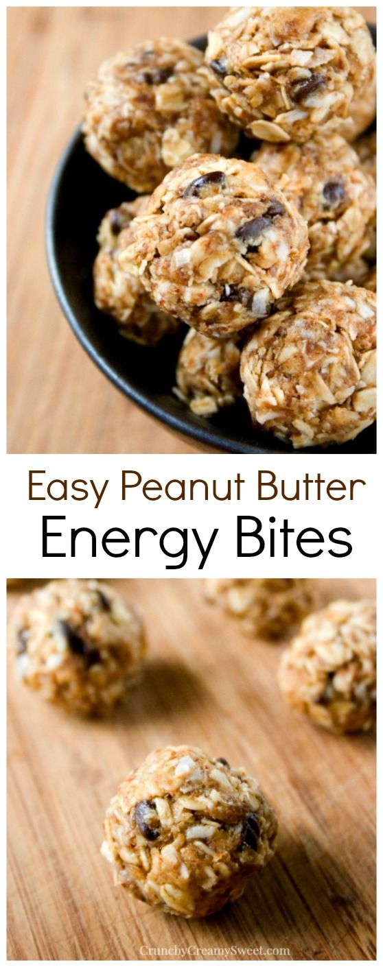 Peanut Butter Energy Bites - quick and easy bites packed with flavor and so good for you! Great snack for busy days! via Crunchy Creamy Sweet