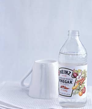 10 uses for vinegar ... 1) Pinch-hit for lemon in a savory recipe; 2) Remove coffee or tea stains from the bottom of a cup; 3) Treat oily hair; 4) Wipe salt stains off boots; 5) Make wool sweaters fluffier; 6) Deodorize a garbage disposal; 7) Clean a teakettle or a coffeemaker; 8) Clean a dishwasher; 9) Remove stubborn price tags or stickers; 10) Kill weeds between cracks in paving stones and sidewalks.: Treats Oily, Wool Sweaters, Kill Weed, Removal Coffee, Salts Stained, White Vinegar, Oily Hair, Teas Stained, Price Tags