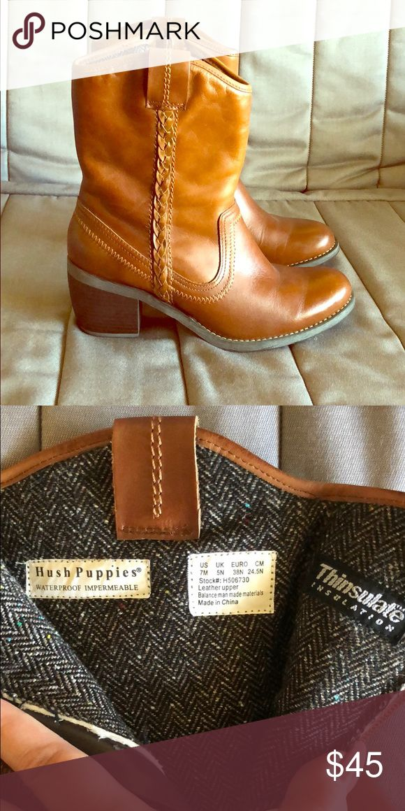 Hush Puppies Ankle Boots w/ Thinsulate Insulation Cute western style booties with Thinsulate Insulation from Hush Puppies. Also waterproof, great for winter. Brand new. Hush Puppies Shoes Heeled Boots