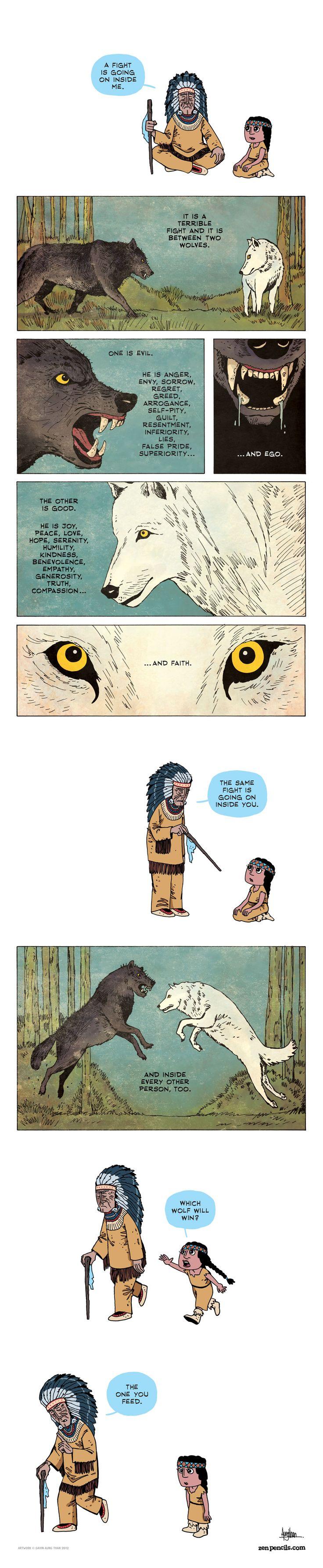 ZEN PENCILS » 94. The Two Wolves