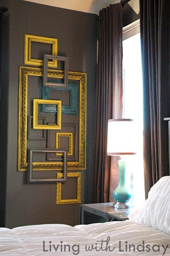 stacked frames - what a great piece of art -- all you need is a trip to the thrift store and the dollar store for some craft paint