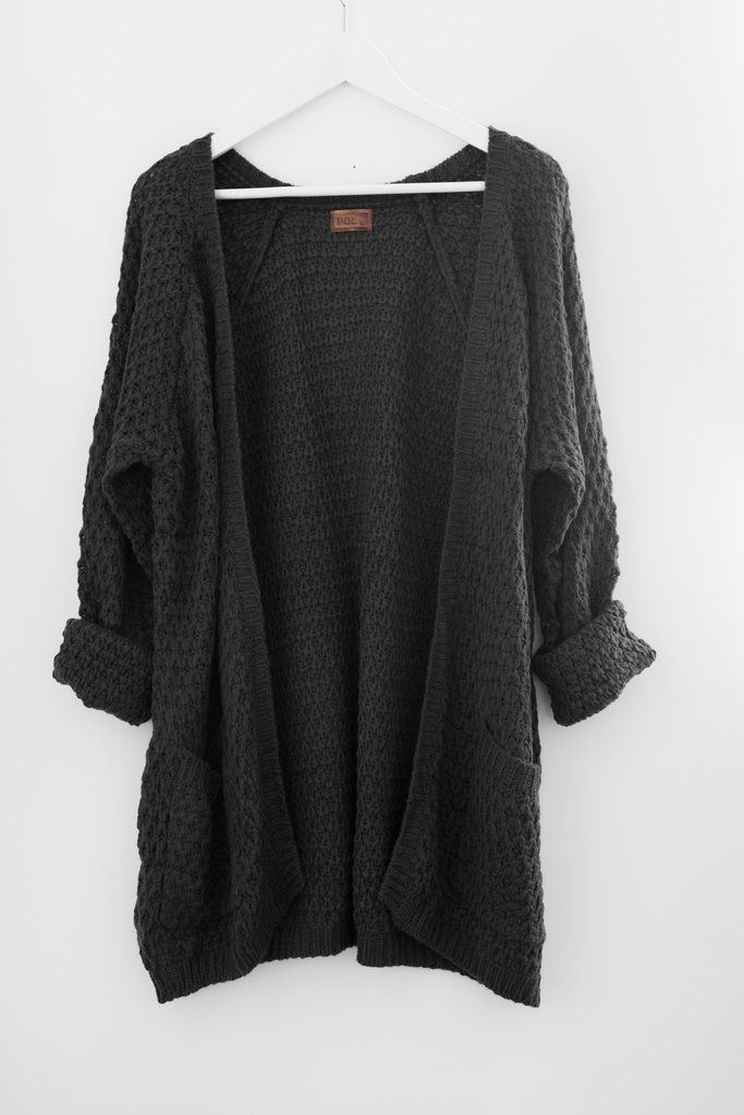 Chunky open front knit cardigan Large front pockets Oversized and slouchy fit Long sleeves Thick sweater knitted material Available in Beige and Charcoal 60% Co
