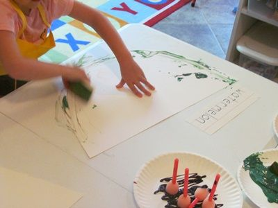 Painting with watermelon rinds | Teach Preschool