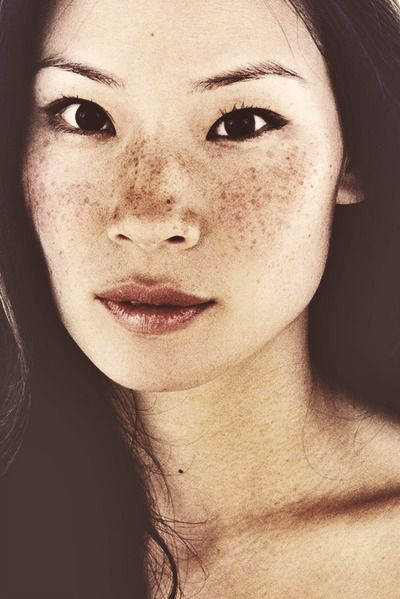 Lucy Liu - one of my favorite pics of her - you can see her freckles and those big, beautiful eyes.