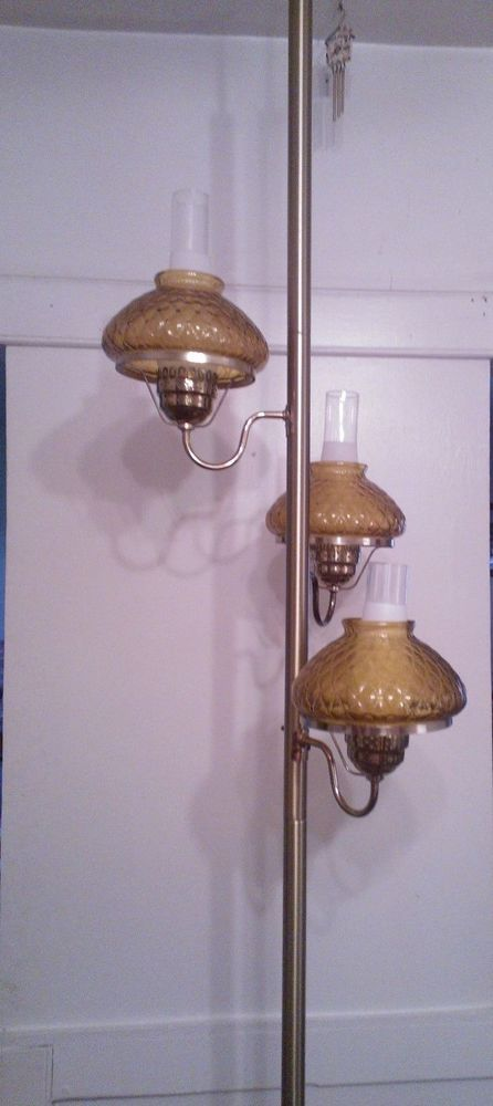 Vintage Mid Century Modern Tension Pole Lamp 3 Light With