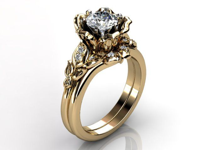 14k yellow gold diamond unusual unique floral engagement ring, wedding ring, engagement set ER-1041-2. $1,465.00, via Etsy.