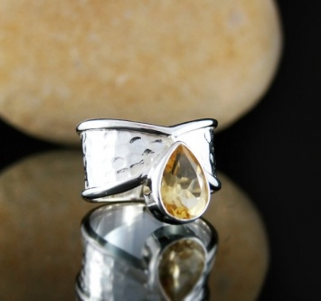 Textured silver ring featuring Brazlian Citrine.