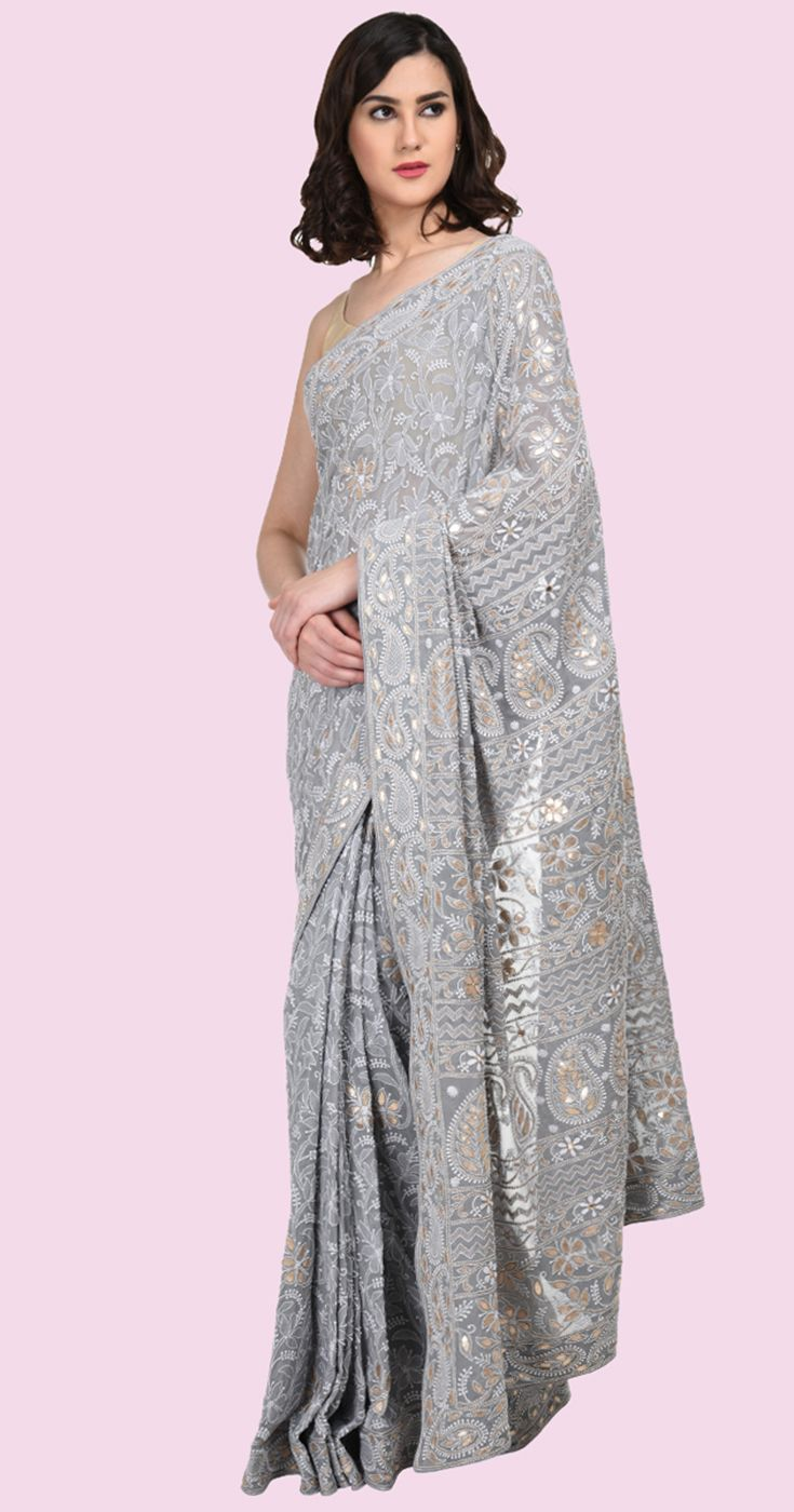 Grey Intricate Chikankari And Gota Patti Pure Georgette Saree