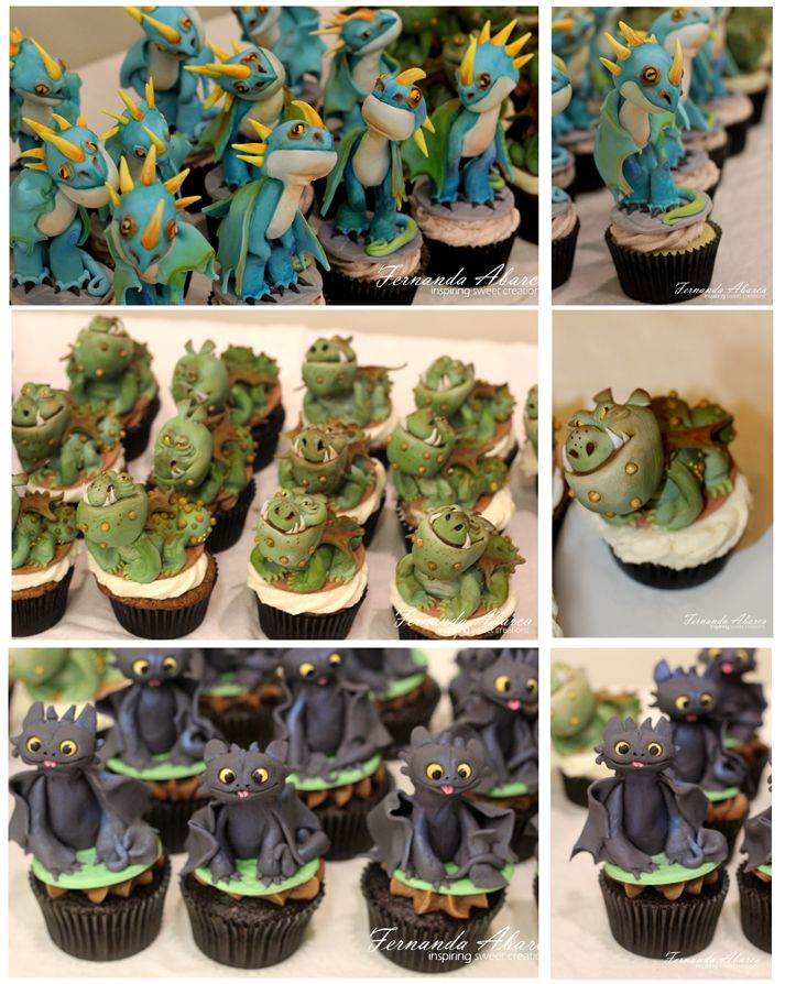 """""""How to Train your Dragon"""" cupcakes made for Dreamworks Animation. All characters are fondant."""