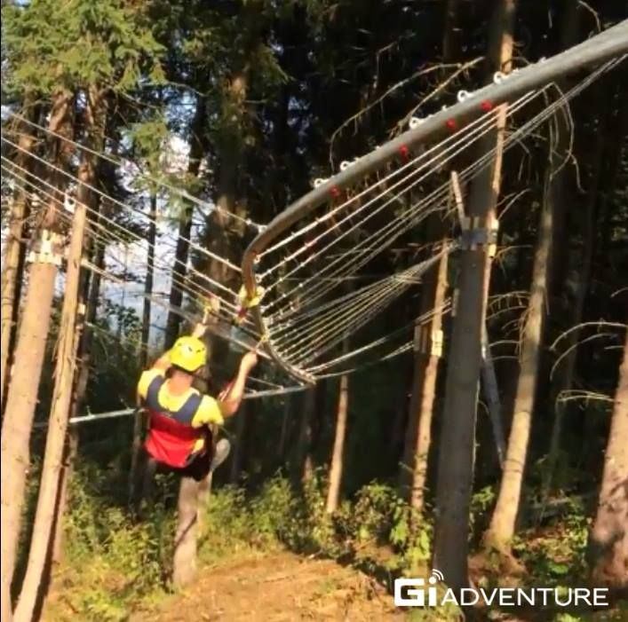Fun time through a zipline, excited as a roller coaster.