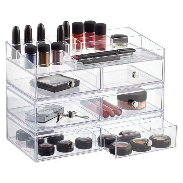 Clarity Wide Stacking Collection makeup storage acrylic drawer  organization