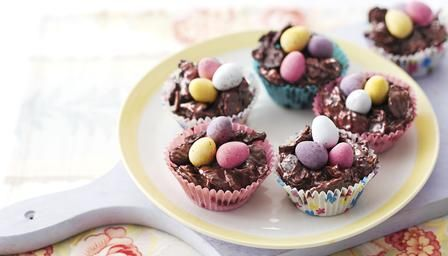 Chocolate Easter Egg Nest Cakes -   Brilliant to make with little children over the holidays, these easy chocolate crispy cakes are a perennial favourite.