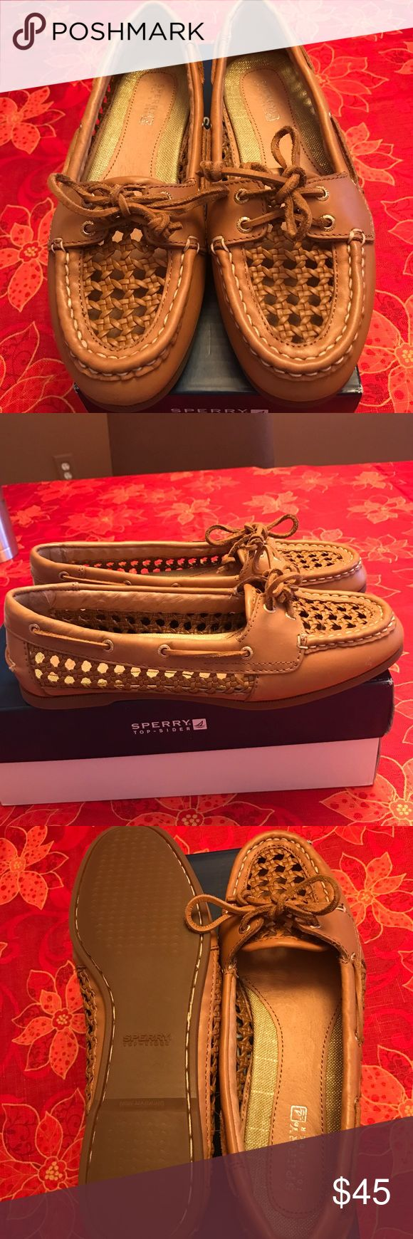 Tan/light brown boat shoes BRAND NEW!!! Never worn braided boat shoes! Sperry Shoes Flats & Loafers