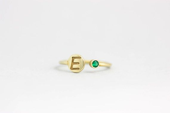 New Mom Ring, Initial Ring Birthstone, Kids Name Ring, Personalized Gold Ring, Gift for Her, Stackable Ring, Dainty Ring, Mothers Day, 0210