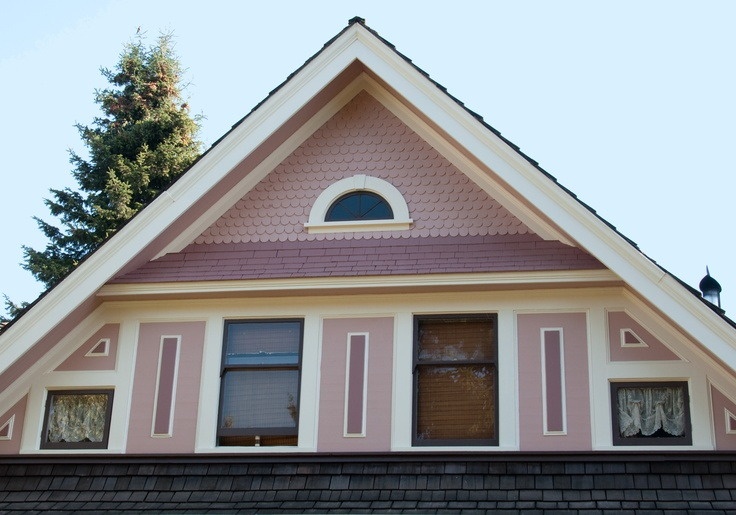Benjamin Moore Monticello Rose siding, Brown Teepee siding and details, Incense Stick Trim and details