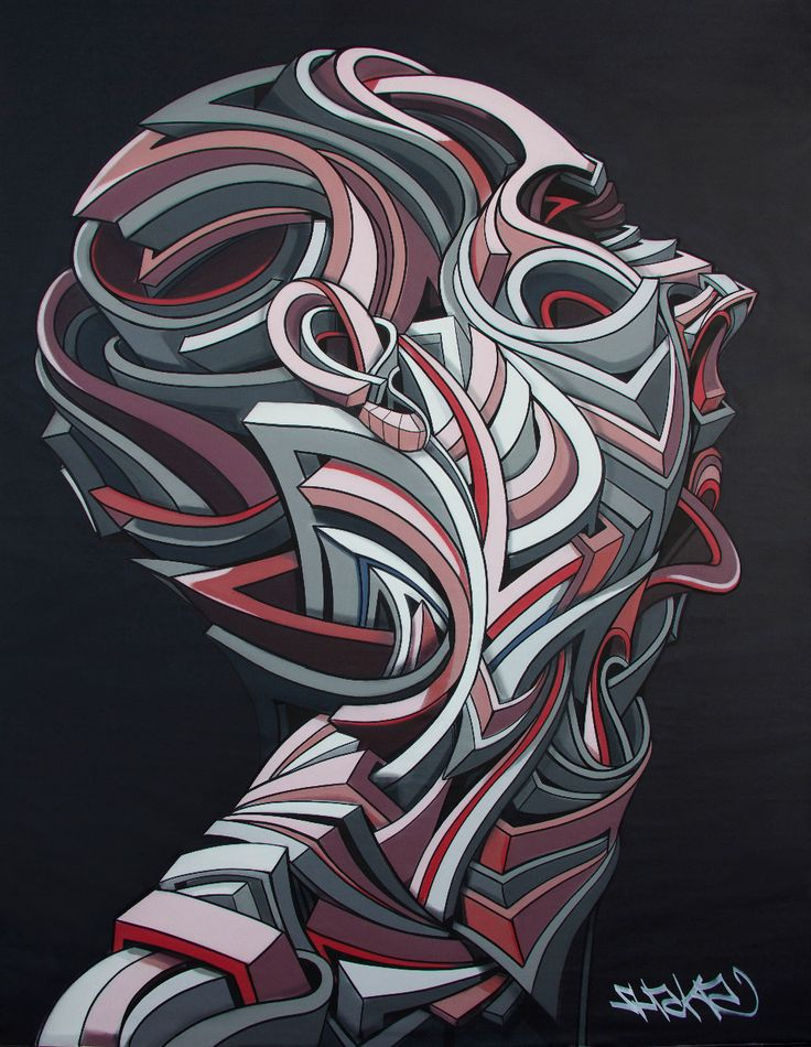 "French artist Marchal Mithouard, aka Shaka, explores the urban individual in his layered geometric artworks.  ""Shaka's Onde de Choc series shows varied moments of people in action, immersed in the impact of internal and external motion. The geometric faces possess a dark humanity, initiated by the shock of movement. Heads turning, reeling, and shaking come to life through sweeping lines and extended silhouettes. In Shaka's signature bas-relief style, portions of the portraits extend outs..."