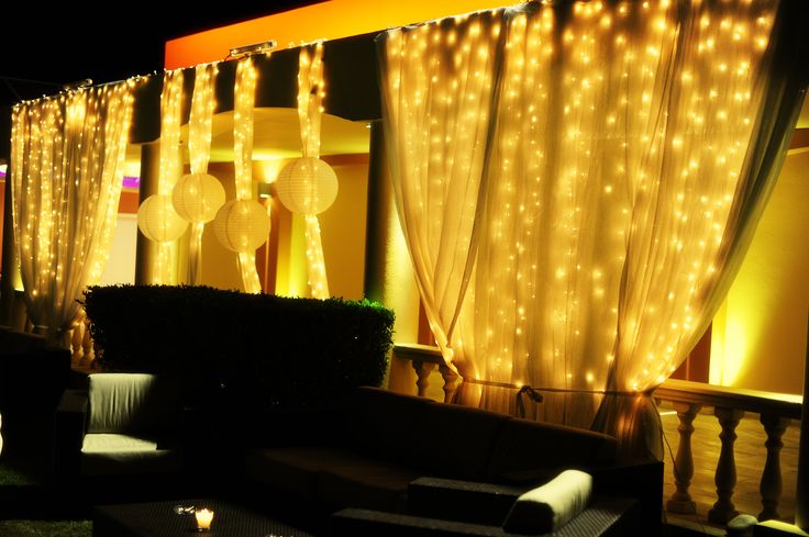 wedding decoration with lights in gold & white at  Athens Golf Club by Anna Remoudaki & Konstantina Grigoriou.
