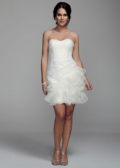 Davidsbridal db studio short strapless lace dress with for Feather wedding dress davids bridal
