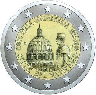 Moeda 2 Euros Comemorativa Cidade do Vaticano 2016 - 200º Aniversário da Guarda do Vaticano