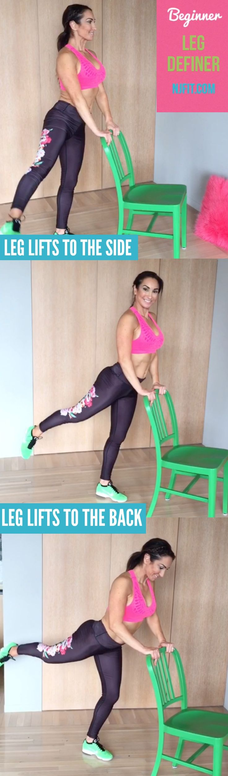 BEGINNER leg workout routine! Leg lifts to the side Leg lifts to the back (bend forward knee to make this easier on lower back Aim for 60 seconds of each exercise on each leg  Are you IN? Click the image to watch video.