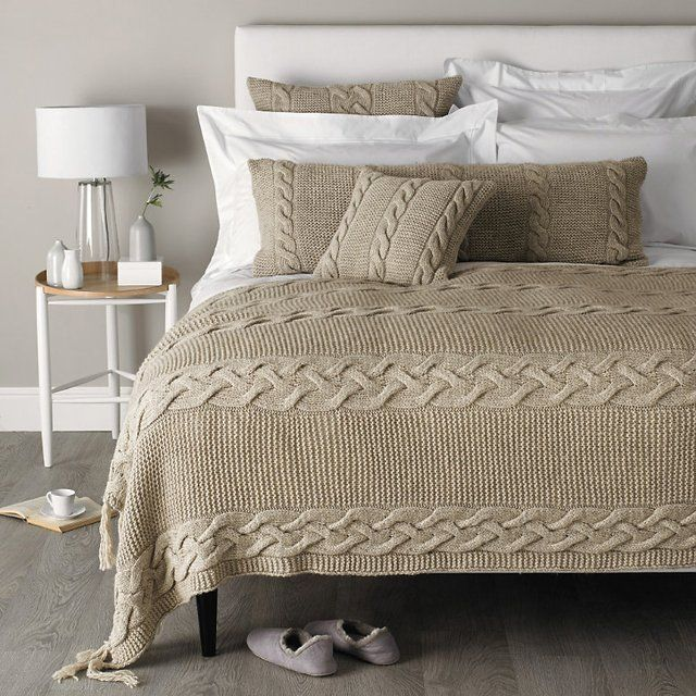Westbourne cable knit throw cable knit blankets warm and sweet - Spots of color in the bedroom linens and throws ...
