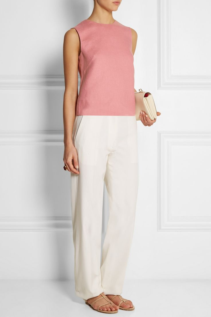 Valentino dusty-pink cropped linen top
