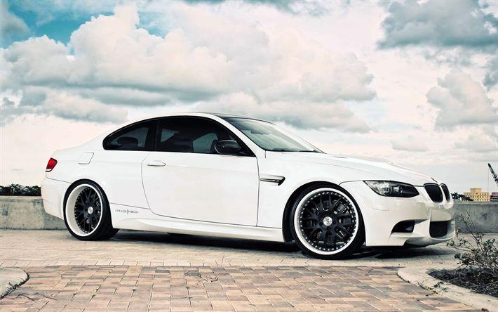 تحميل خلفيات ضبط, بي ام دبليو M3, E92, السيارات الألمانية, الأبيض m3, كوبيه, BMW