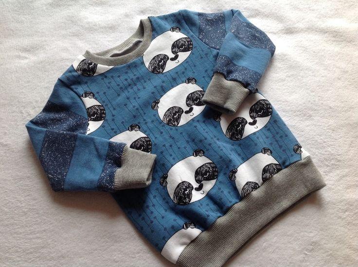 """Pullover & Sweatshirts - Sweatshirt """"Panda-Bär"""" blau - ein Designerstück von Frau-Haase bei DaWanda"""