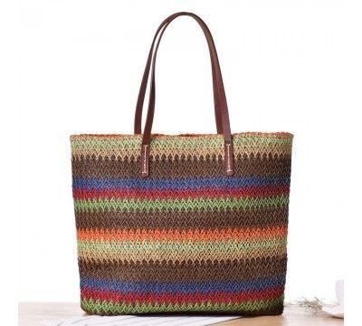 Color Block Woven Beach Bag